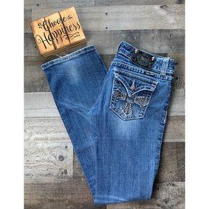MISS ME Denim Boot Cut Cross Flap Pocket Jeans 30